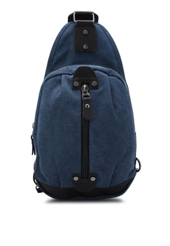 JAXON navy Canvas Shoulder Bag E2D34ZZ958C4A5GS_1