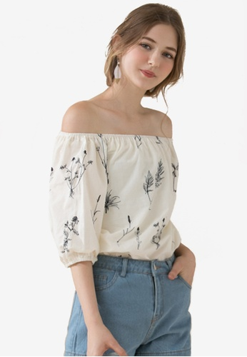 Eyescream beige Dried Flowers Embroidery Off Shoulder Top 3EE79AA0A004F7GS_1