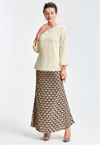 Era Maya gold and beige Luxurious Golden Thread Baju Kurung Kedah Moden D8FADAAEDDDCC3GS_1
