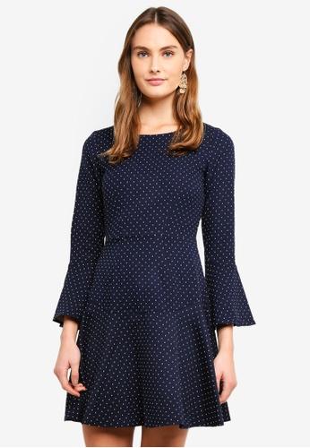 CLOSET navy Fit & Flare Sleeve Dress 0479AAAC36B08FGS_1