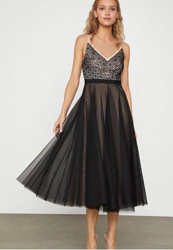 BCBG Max Azria black Geometric Floral Dress E05F3AA9D9CF45GS_1