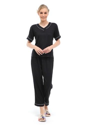 Hamlin black Vance Piyama Setelan Baju Tidur Wanita Lengan Pendek Material Rayon ORIGINAL - Black 8C912AA7732F3FGS_1