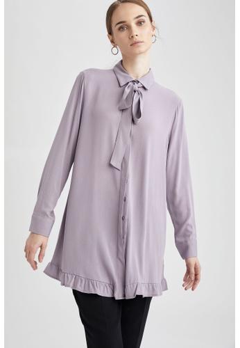 DeFacto purple Long Sleeve Viscose Tunic 4A7FAAA92E2C8EGS_1