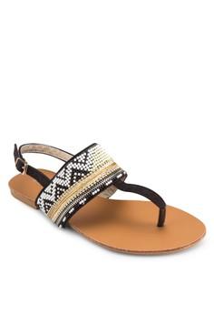 【ZALORA】 PLAY! Elida Aztec 串珠條紋涼鞋