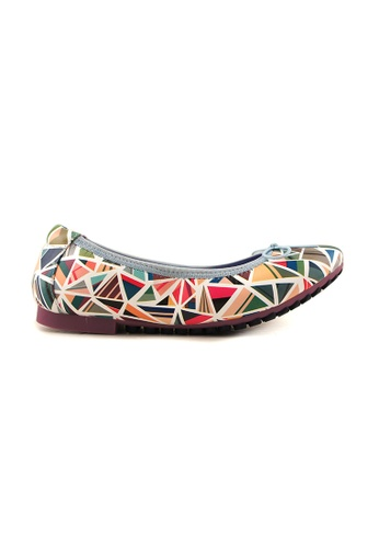 Flatss & Heelss by Rad Russel grey and pink and green and blue Multi Coloured Triangle Prints Flats FL655SH98SYVSG_1