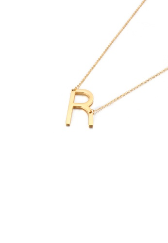Glamorousky silver Simple and Fashion Plated Gold English Alphabet R 316L Stainless Steel Pendant with Necklace 9ED90AC698B931GS_1