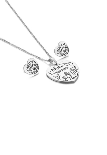 Glamorousky silver Fashion and Simple Mama Heart-shaped 316L Stainless Steel Necklace and Stud Earrings Set 0DF36AC7D3A616GS_1
