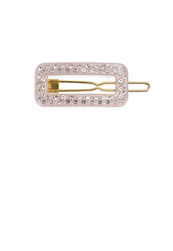Glamorousky white Fashion and Simple Pink Hollow Geometric Hair Clip with Cubic Zirconia 0DC6CAC3143884GS_1