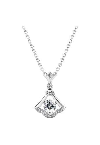 Her Jewellery silver Flint Pendant (White Gold) - Made with Premium grade crystals from Austria E1F03AC990D847GS_1