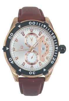 Orkina Decorative Chronograph Men's Fashion Leather Strap Wrist Watch