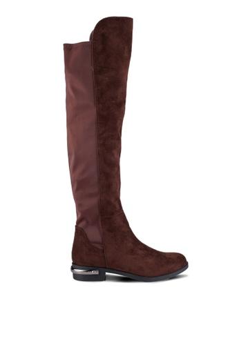 ZALORA 褐色 高靴子 with 金屬 鞋跟 細節 A18DBZZ314C598GS_1