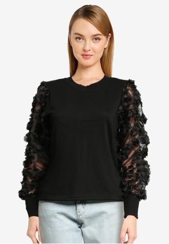 JACQUELINE DE YONG black Fairview Sweatshirt 72791AAC597C49GS_1