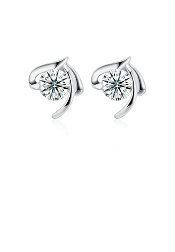Glamorousky white 925 Sterling Silver Simple Elegant Fashion Earrings and Ear Studs with Cubic Zircon 23FC6AC77B9A96GS_1