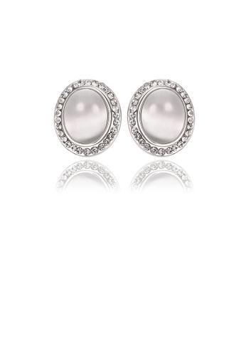 Glamorousky white Fashion Elegant Geometric Chrysoberyl Cat Eye Opal Stud Earrings with Austrian Element Crystal 27B55ACC98A2B3GS_1