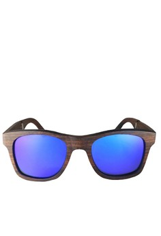 Woodchop Limited Edition Ebony Frame, Dark Blue Flash Lens Wooden Folding Sunglasses