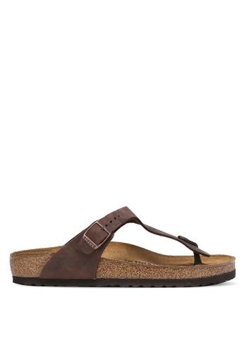 Birkenstock brown Gizeh Oiled Leather Sandals BI090SH0RCOFMY_1