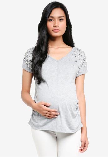 Dorothy Perkins grey Maternity Grey Pearl Embellished Tee 59261AA3100DB7GS_1