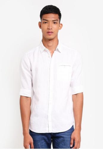 ESPRIT 白色 短袖亞麻襯衫 719FEAABF395A0GS_1