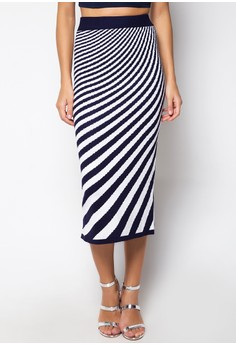 Maxi Knitted Skirt Wave Printed Design