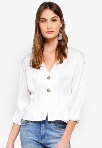 Vero Moda white Hanna Button 3/4 Top 93FDAAAAC83CFEGS_1