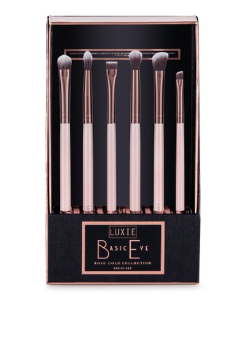 Luxie Beauty pink Rose Gold Piece Basic Eye Brush Set 6A28DBE4508E8AGS_1