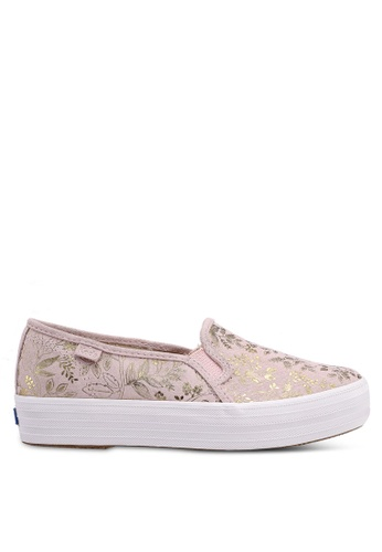 Keds 粉紅色 金屬感花卉厚底懶人鞋 61153SHACFEE8BGS_1