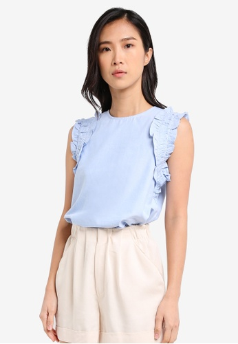 ZALORA blue Shell Top With Ruffle Details 19C77AAA765075GS_1