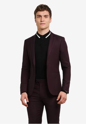 Topman 紅色 窄管裁剪 Suit 夾克 TO413AA0S4R2MY_1