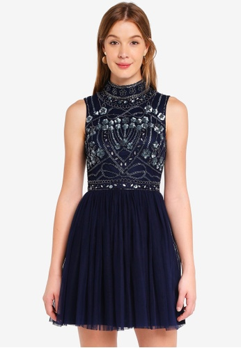 Frock and Frill navy Embellished Top Dress 8C0A1AA6D7300AGS_1