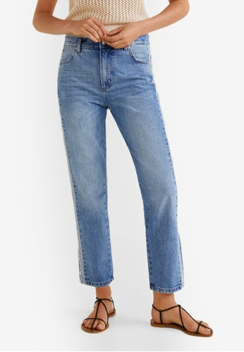 Mango blue Contrasting Trims Straight Jeans E872CAA0538004GS_1