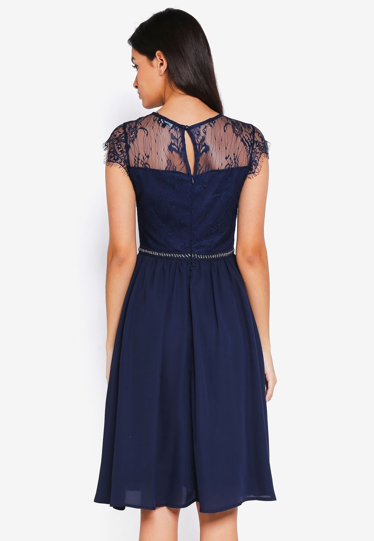 Lace Dress Embellished ZALORA Yoke Waistband with Bridesmaid Navy 7ZqTwS66x