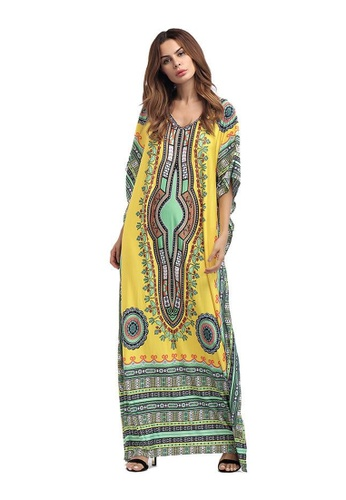 Kings Collection yellow African Ethnic Print Beach Long Dress (KCCLSP2101) 231FCAAC71D90AGS_1