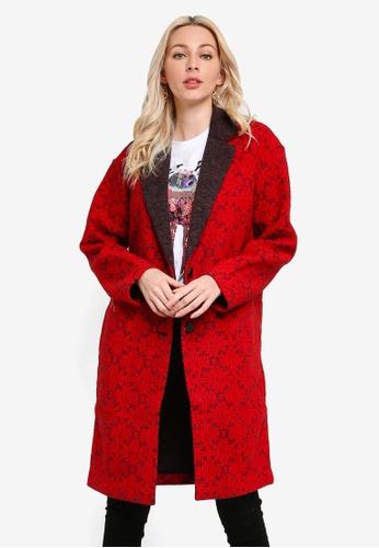 Desigual red Long Tricot Friezes Coat D5F99AA4678FB0GS_1
