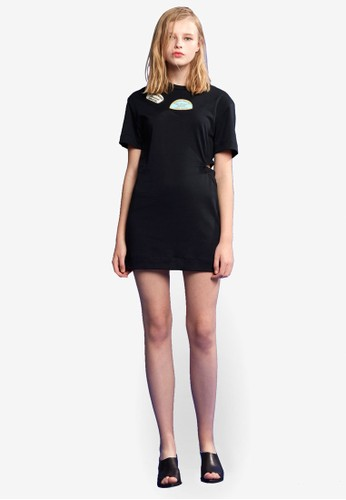 圖案鏤空連身裙, 服飾esprit hk outlet, 洋裝
