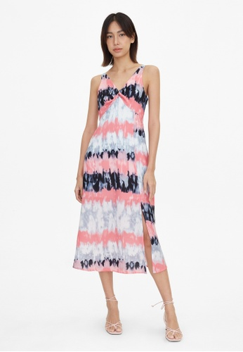 Pomelo pink Tie Dye V Neck Flare Dress - Pink 2C762AADCAF72DGS_1