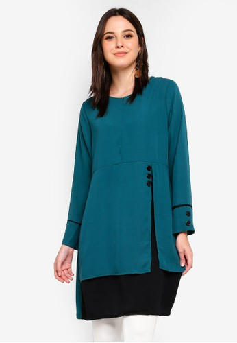 BYN green Piping Detail Blouse D02CCAACB884C4GS_1