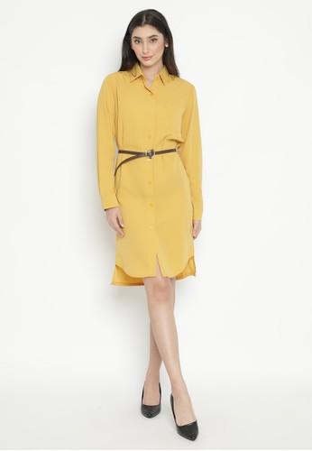 MINEOLA yellow MINEOLA Basic Button Front Long Sleeves Dress - Yellow F7A8BAA537C310GS_1