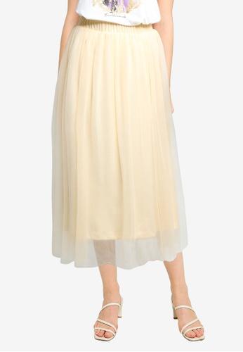 Vero Moda beige Eve Mesh Skirt 9AB70AA3EDFD94GS_1