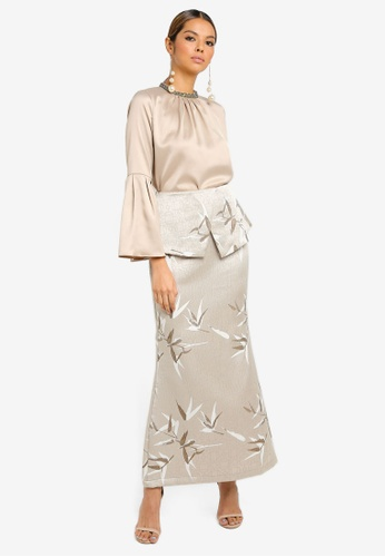 Flared Blouse With Peplum Skirt from Ezzati Amira in Beige