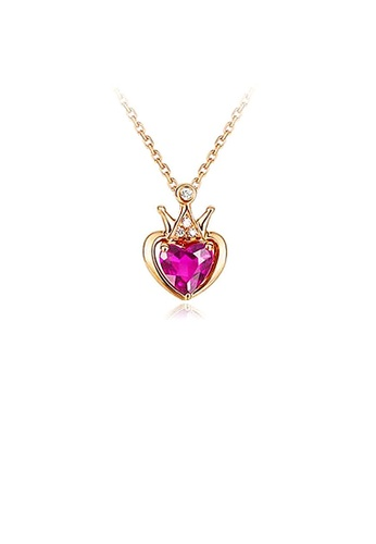 Glamorousky red Fashion Crown Pendant with Rose Red Austrian Element Crystal and Necklace 99802ACE21B691GS_1