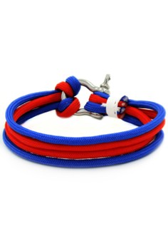 Silver Shackle Two Toned Blue/Red Bracelet