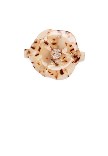 Glamorousky brown Fashion and Elegant Champagne Pattern Flower Hair Slide with Cubic Zirconia 0FA78AC1301930GS_1