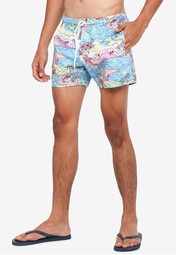 Topman blue Hawaii Cartoon Swim Shorts A67E1USFBA7A65GS_1