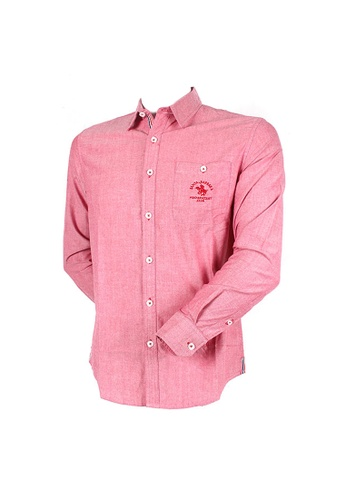 Santa Barbara Polo & Racquet Club red SBPRC Long Sleeve Shirt 05-9203-04 882C4AA8EBA284GS_1