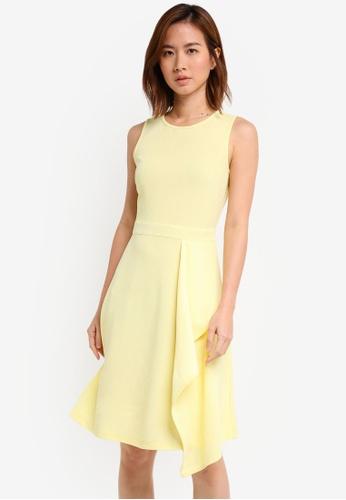 ZALORA yellow Drape Peplum Dress 5BEBFAAC4D106EGS_1