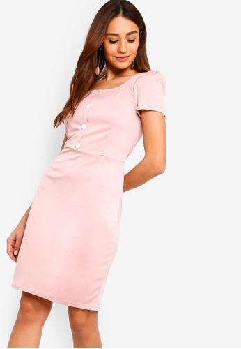 ZALORA pink Button Detail Knit Sheath Dress 505D4AA39E851FGS_1