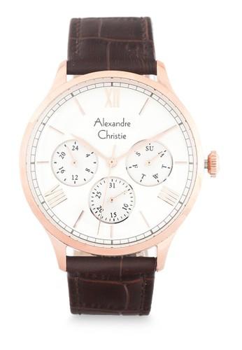 Alexandre Christie brown Alexandre Christie Jam Tangan Pria - Brown Rosegold Silver - Leather Strap - 6568 MFLRGSL 49927ACCD7AF03GS_1