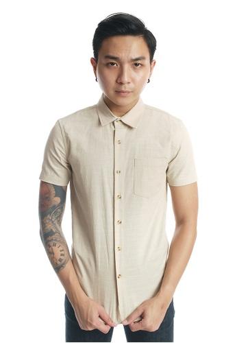 Praise beige Short Sleeves Shirt PR067AA65KKGSG_1