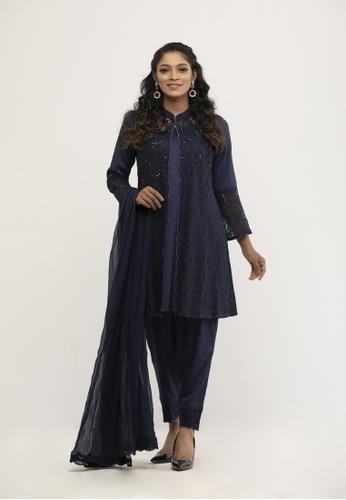 Le Reve blue Le Reve Kebaya Style Salwar Kameez with Shawl BA220AA82A956BGS_1