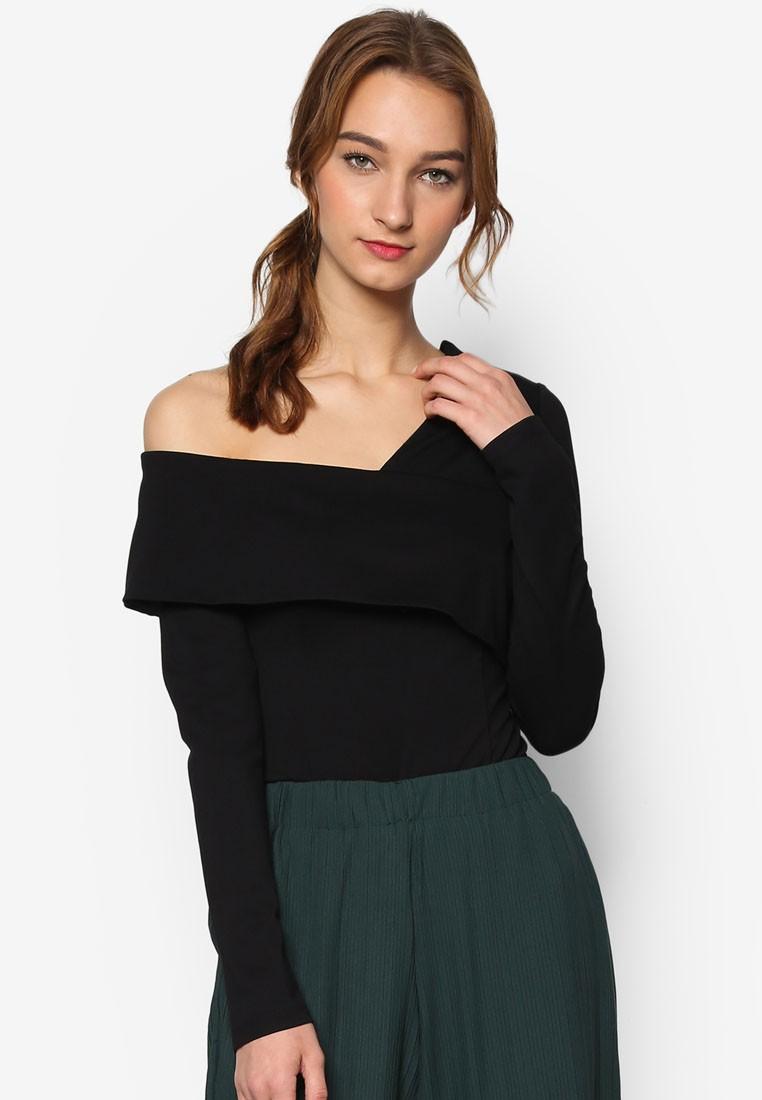 Black Asymmetric Cold Shoulder Thong Bodysuit